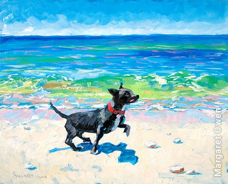 Painting of dog on Block Island Beach