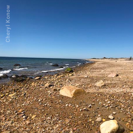 Block Island Rocky Beach with Blue Sky
