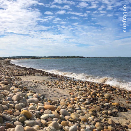 Rocky Beach at Block Island with Blue Sky