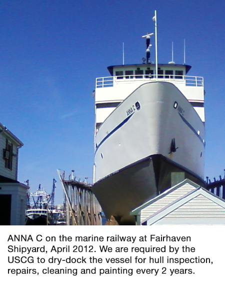 ANNA C. on the Marine Railway at Fairhaven Shipyard, April 2012