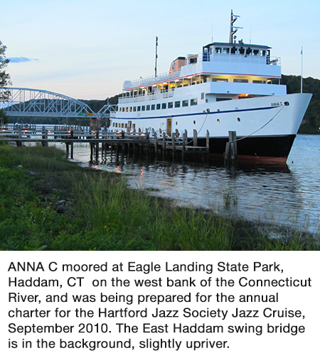 ANNA C. Moored at Eagle Landing State Park, Haddam, CT